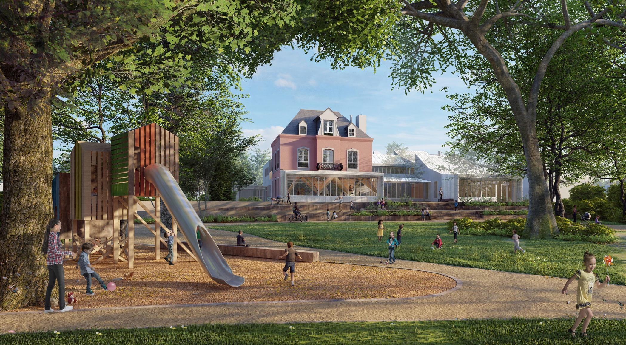 Le projet vu du parc (infographie architecte)